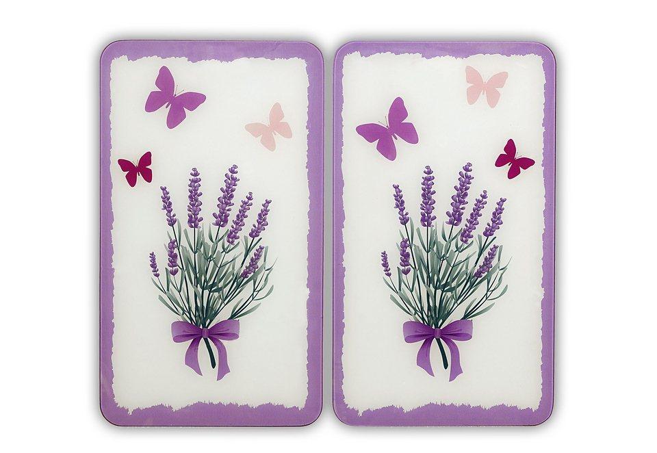 SET: Herd-Abdeckplatten, Wenko, »Lavendel-Bouquet« (2 Stck.) in natur