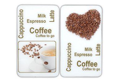 WENKO Herd-Abdeckplatte »Kaffeegenuss«, Glas, (Set, 2 tlg), 8 rutschfesten Spezialfüße