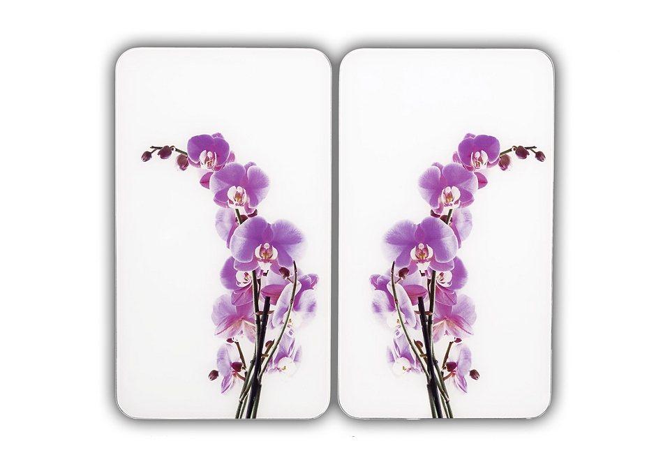 SET: Herd-Abdeckplatten, Wenko, »Orchideenblüte« (2 Stck.) in weiß