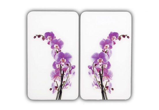 WENKO Herd-Abdeckplatte »Orchideenblüte«, Glas, (Set, 2 tlg), kratzfest