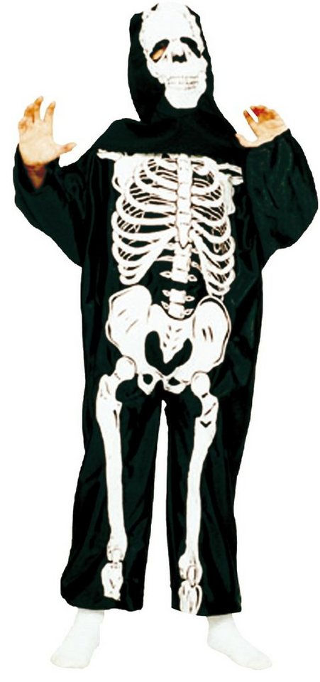 Funny Fashion Kostüm Skeleton schwarz mit Haube in Skeleton Kostüm