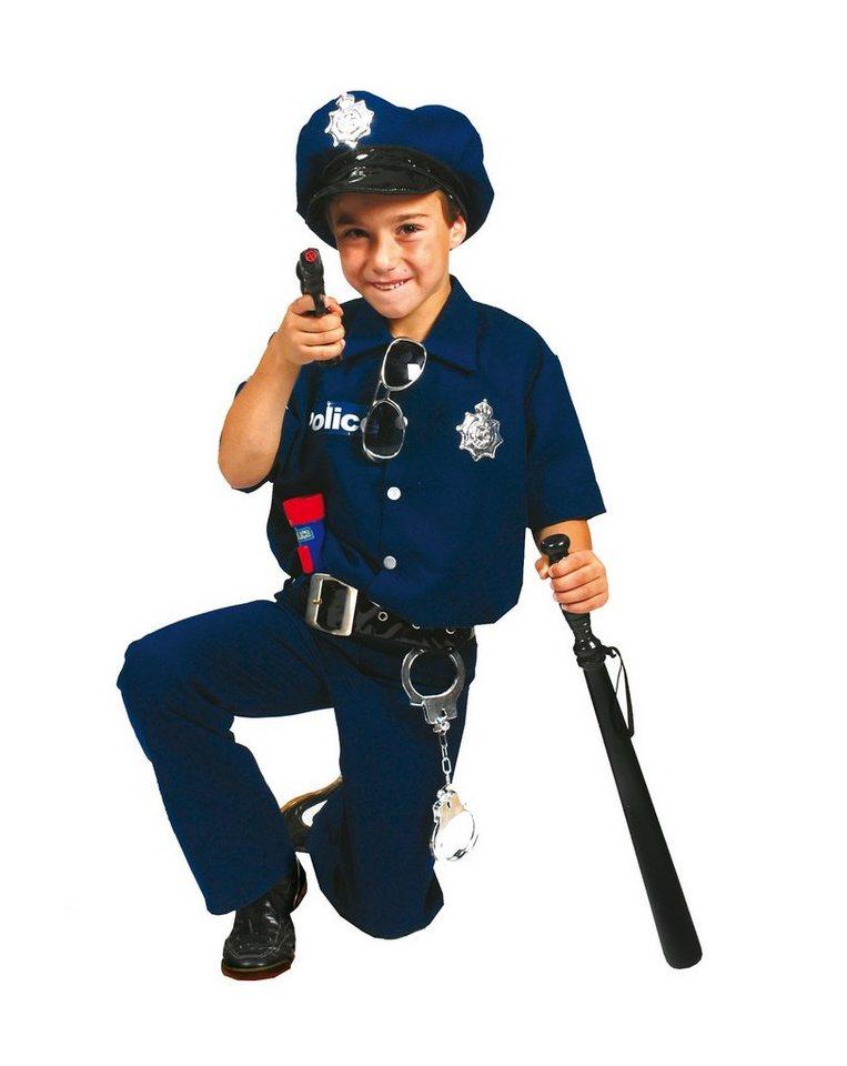 Funny Fashion Kostüm Polizist David, 2-teilig, mit Mütze und Gürtel in Kostüm