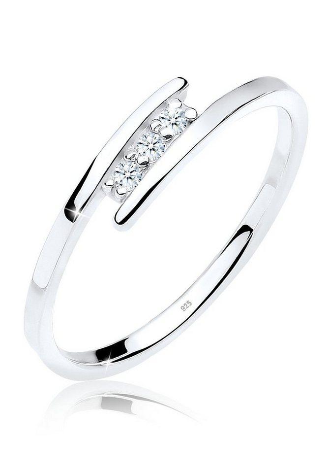 DIAMORE Ring »Klassiker Trio Diamant 0.06 ct. 925 Silber« in Weiß