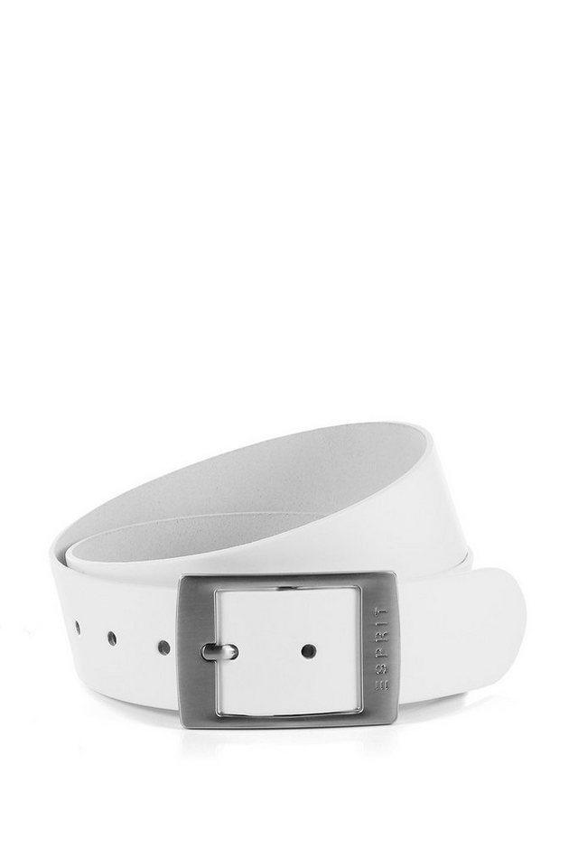 ESPRIT CASUAL Ledergürtel + Logoschließe in WHITE