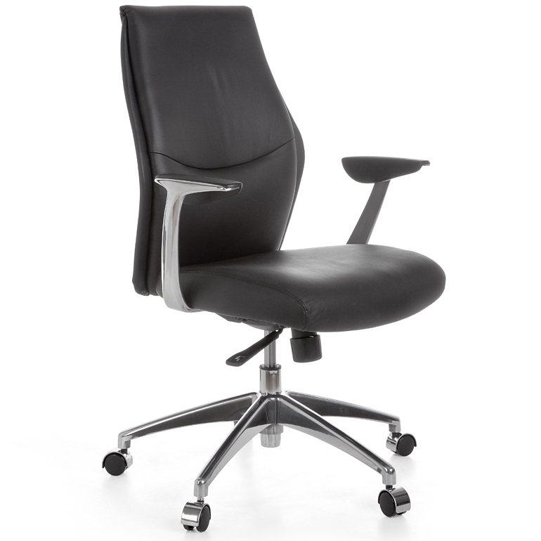 SalesFever Schreibtischstuhl aus Echtleder mit 5-Punkt-Mechanik bis 120kg »Kenil 2« in schwarz
