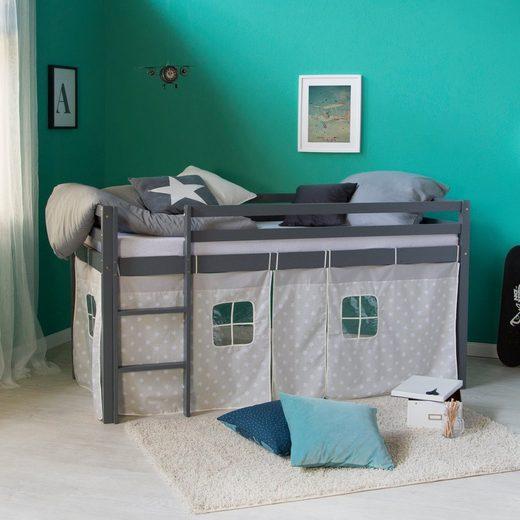 Homestyle4u Hochbett Kinderbett in weiß oder grau mit Sternenstoffvorhang