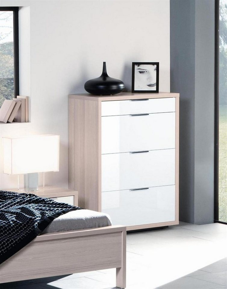 composad kommode mit 4 schubladen hochglanz weiss und esche superba online kaufen otto. Black Bedroom Furniture Sets. Home Design Ideas