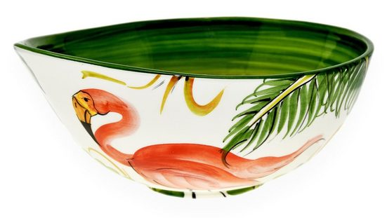Lashuma Servierschale »Flamingo«, Keramik, (1-tlg), Servierschüssel Groß, Gemüseschale Ø 26 cm