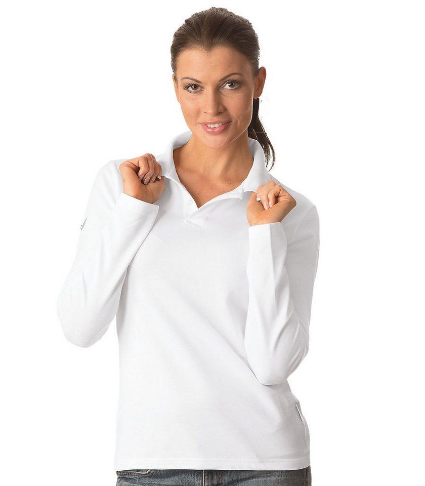 TRIGEMA Langarm Polo-Shirt in weiss
