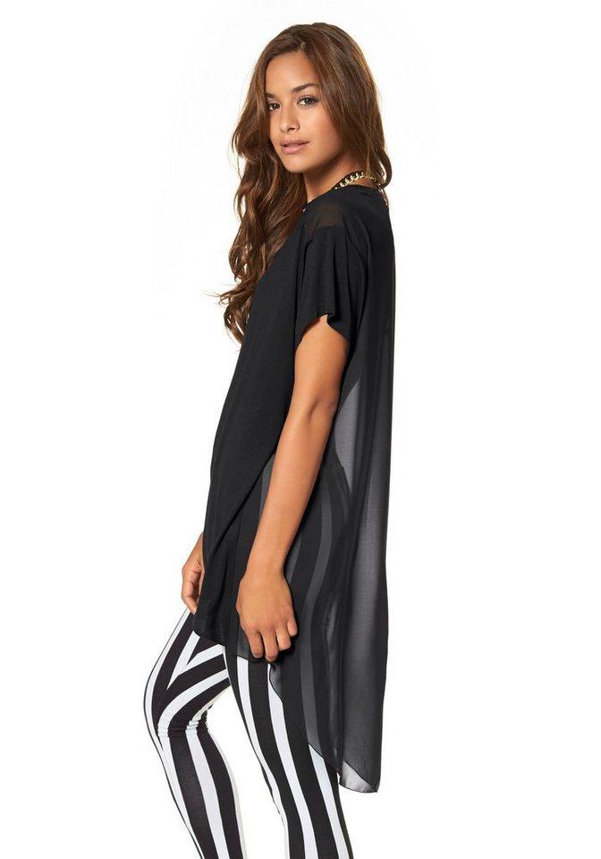 AJC Vokuhila-Shirt mit transparentem Rückenteil in schwarz