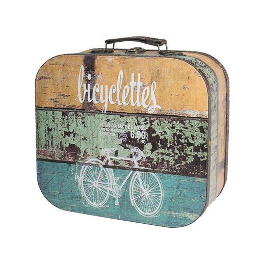HMF Aufbewahrungsbox »Vintage Koffer«, aus Holz, Deko Fahrrad, 25 x 21,5 x 8,5 cm