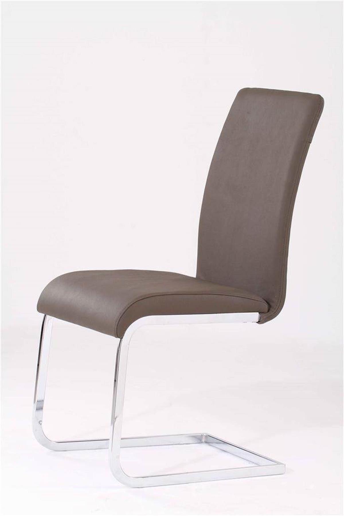 Kasper-Wohndesign 4er Set Stuhl Freischwinger Leder grau »DEKORA«