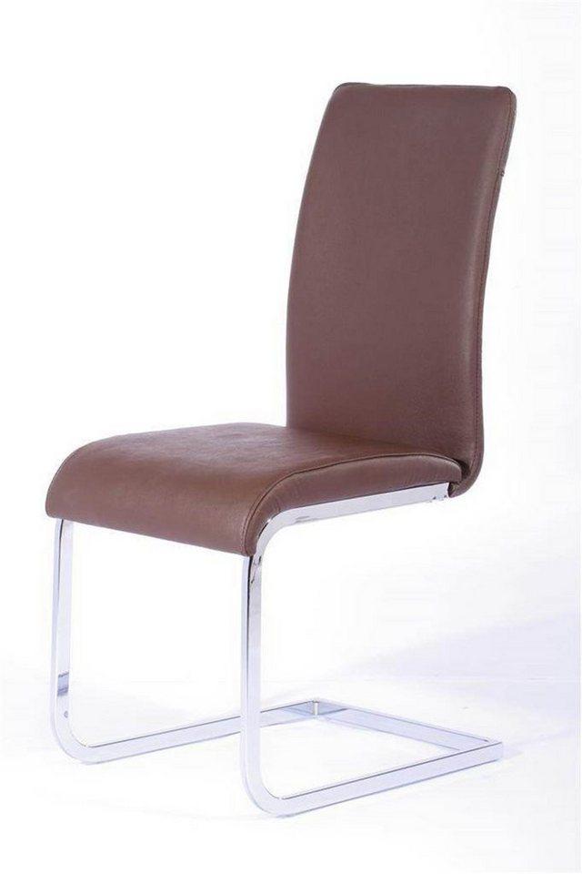 Kasper Wohndesign 4er Set Stuhl Freischwinger Leder Braun Dekora Online Kaufen Otto