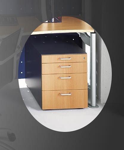 Kasper-Wohndesign Rollcontainer mit 4 Schubladen Buche und Schiefer »SOLID«