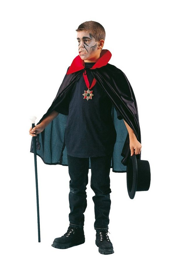Funny Fashion Dracula Umhang, Nylon schwarz mit rotem Kragen