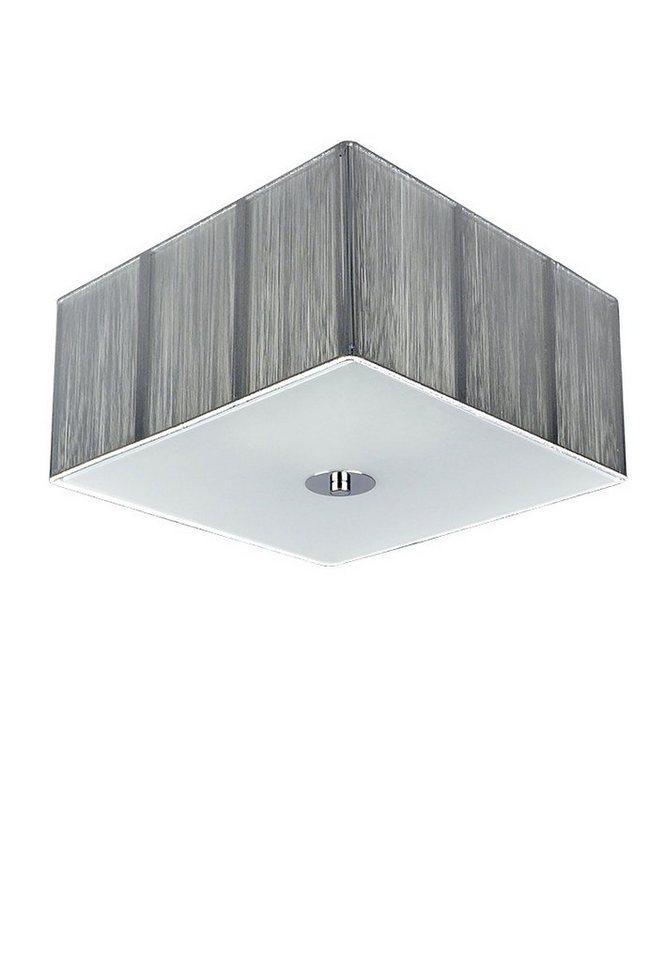 s luce deckenleuchte stoff twine 35x35 h12 4xe27 silberfarben online kaufen otto. Black Bedroom Furniture Sets. Home Design Ideas