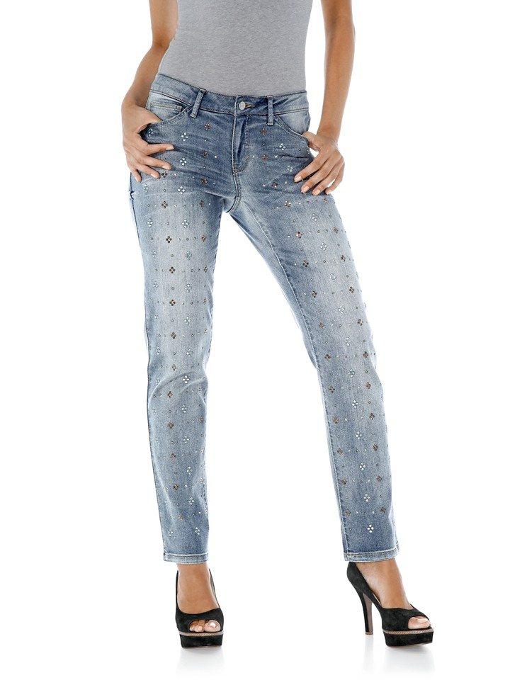 LINEA TESINI by Heine Boyfriend-Jeans mit Nieten und Strass in blue denim