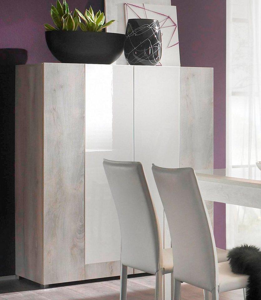 LC Highboard, Breite 119 cm in piniefb. / weiß Hochglanz