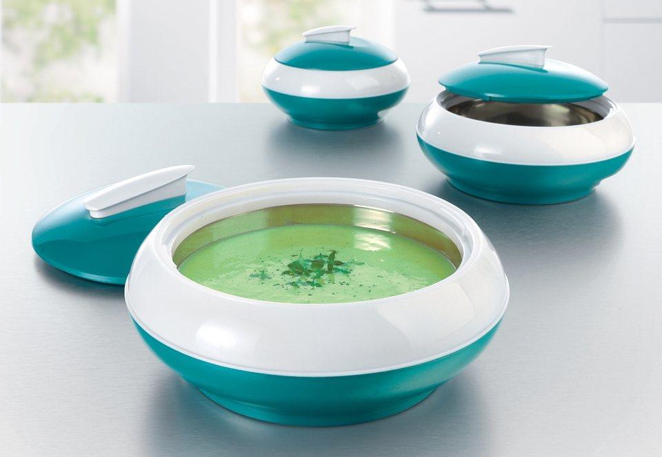 GOURMETmaxx Thermoschüsseln 3er-Set, smaragdgrün in türkis-weiß