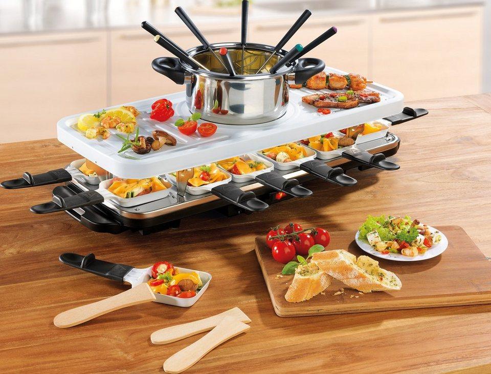 gourmetmaxx Raclette- und Fondue Set, Keramik, 1600 Watt in weiß/schwarz
