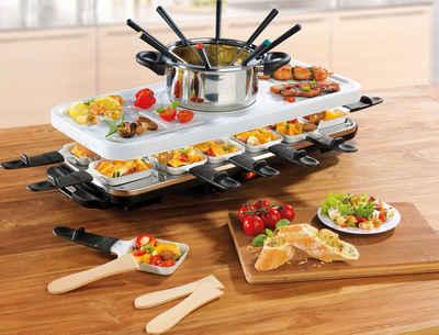 GOURMETmaxx Raclette und Fondue-Set Raclette- und Fondue Set, 12 Raclettepfännchen, 1600 W