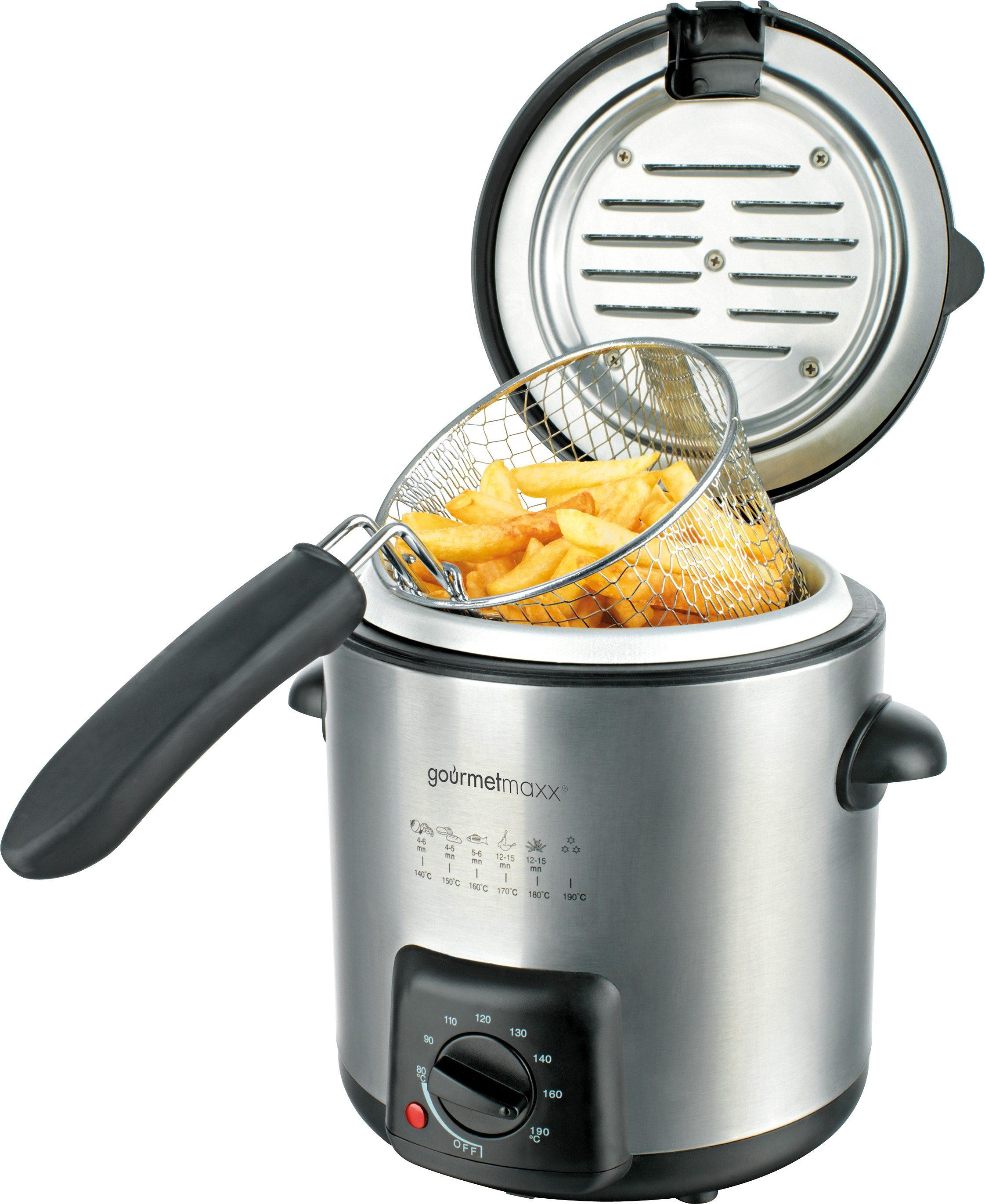 GOURMETmaxx Fritteuse Deluxe, 840 W, Frittierbehälter/ Deckel/ Korb spülmaschinengeeignet