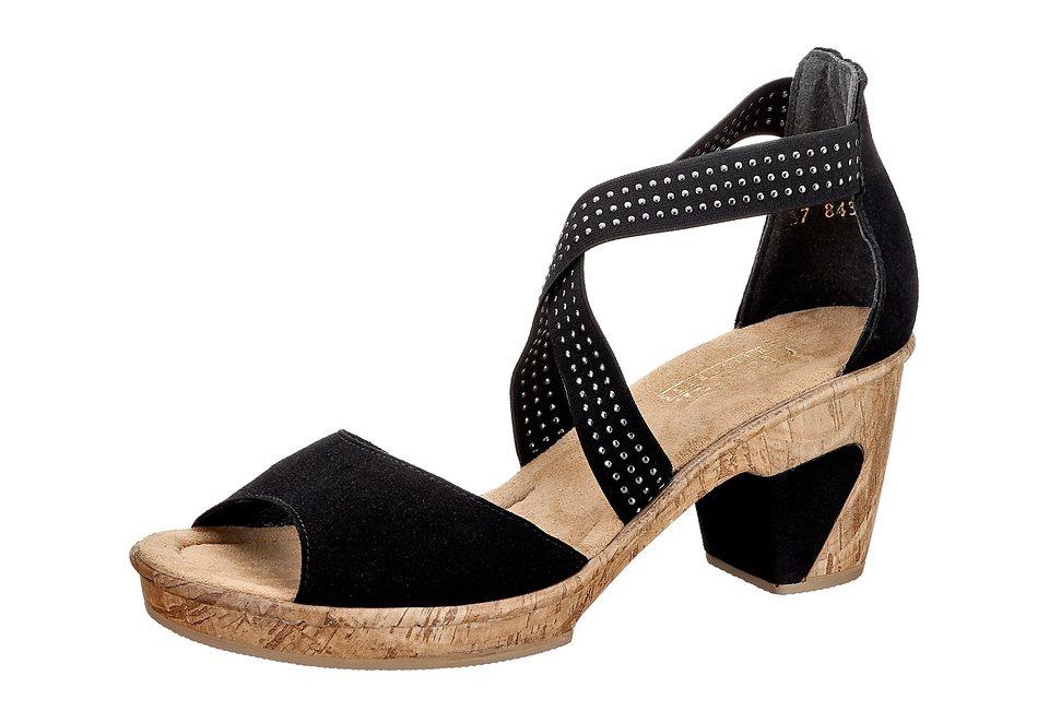 Rieker Sandalette mit Gummizug und 65mm Absatz in schwarz