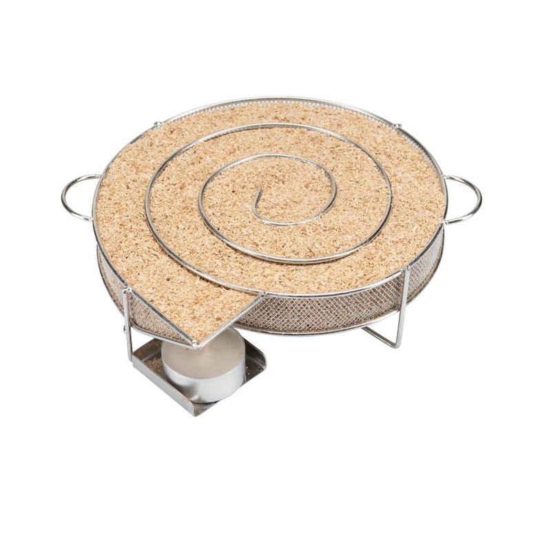 riijk Räucherbox »Räucherschnecke« Kaltrauchschnecke silber rund – Sparbrand für Smoker, Grill oder Räucherofen Kaltrauchgenerator eckig, Kaltraucherzeuger, Räucherspirale für Räucherspäne