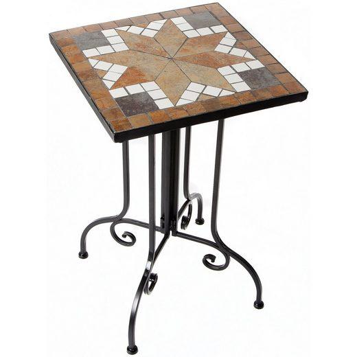 BigDean Gartentisch »Mosaik Tisch Beistelltisch Handarbeit Balkontisch Terrasse Garten Outdoor«