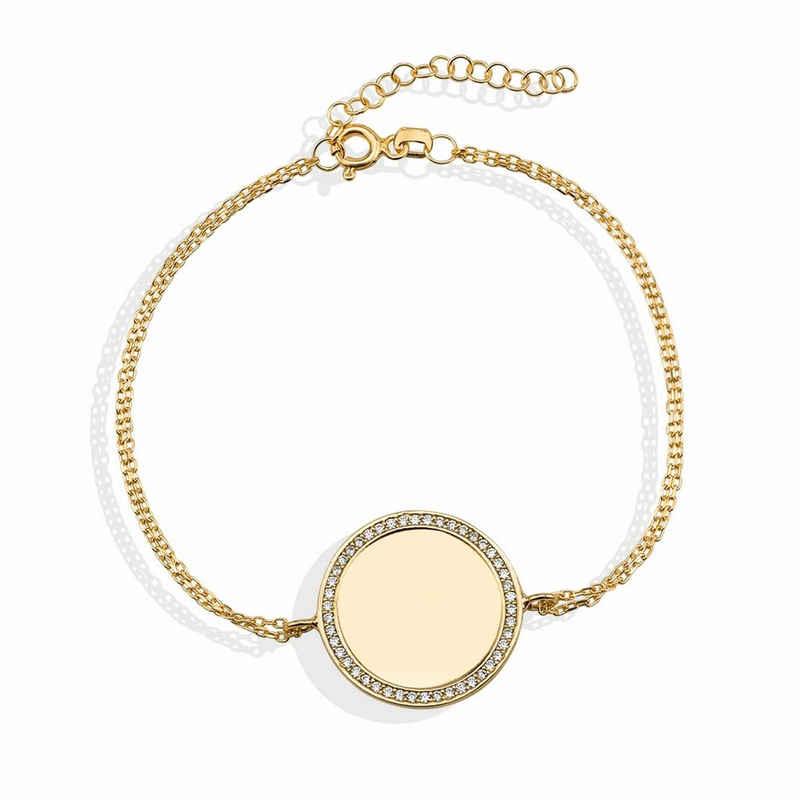 dKeniz Armband »925/- Sterling vergoldet Kreis Plättchen«