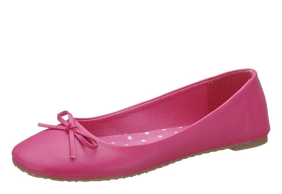 City Walk Ballerina aus Lederimitat mit Schleife in pink