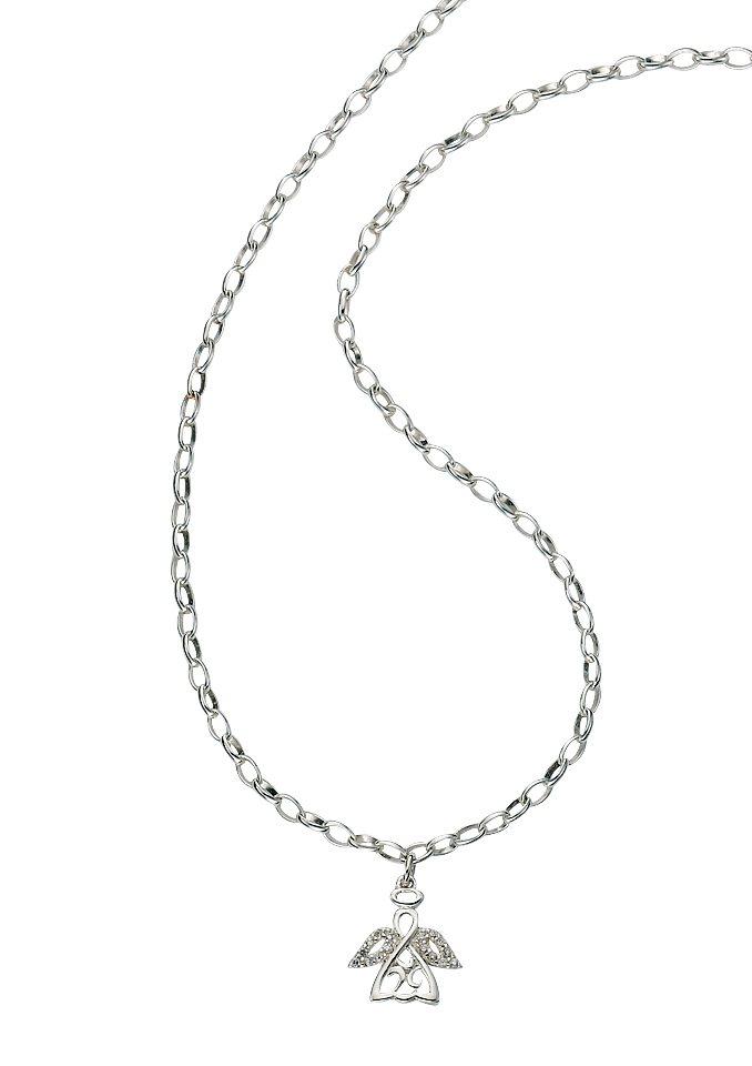 firetti Halsschmuck: Halskette in Erbskettengliederung mit »Engel« und Zirkonia in silberfarben