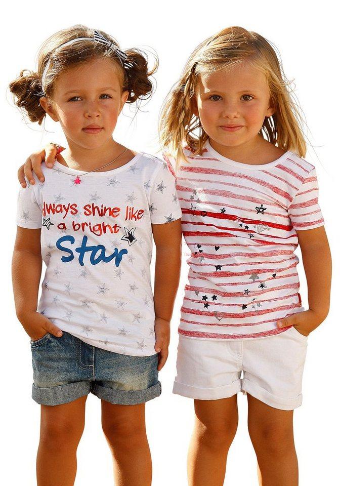 CFL T-Shirts (Set, 2-tlg.) für Mädchen in weiß + gestreift