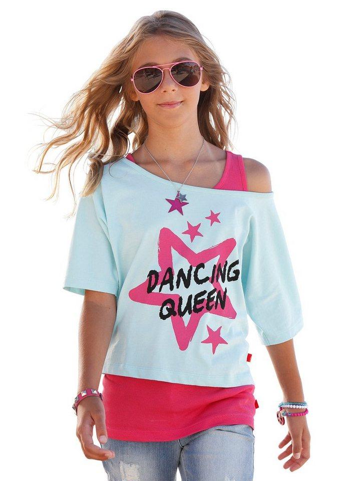 """CFL Fledermausshirt """"DANCING QUEEN"""" (Set, 2 tlg., mit Top) in mint-pink"""