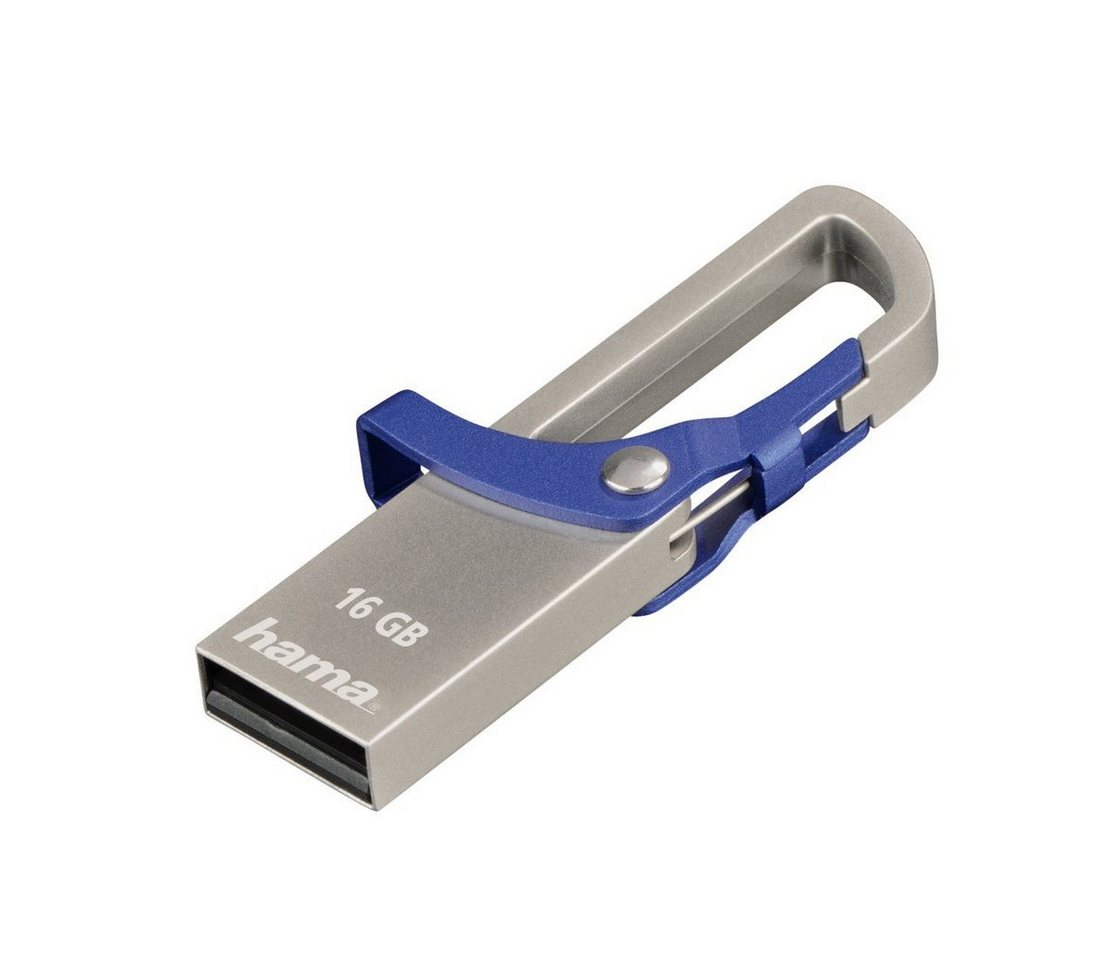 Hama USB Stick 16GB, 2.0, 15MB/s, FlashPen Blau »Speicherstick mit Karabiner«