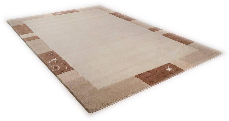 Teppich, Theko, »Ganges 991«, handgearbeiteter Konturenschnitt, handgeknüpft in beige