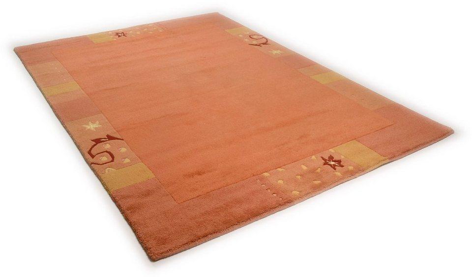 Teppich, Theko, »Ganges 991«, handgearbeiteter Konturenschnitt, handgeknüpft in terra