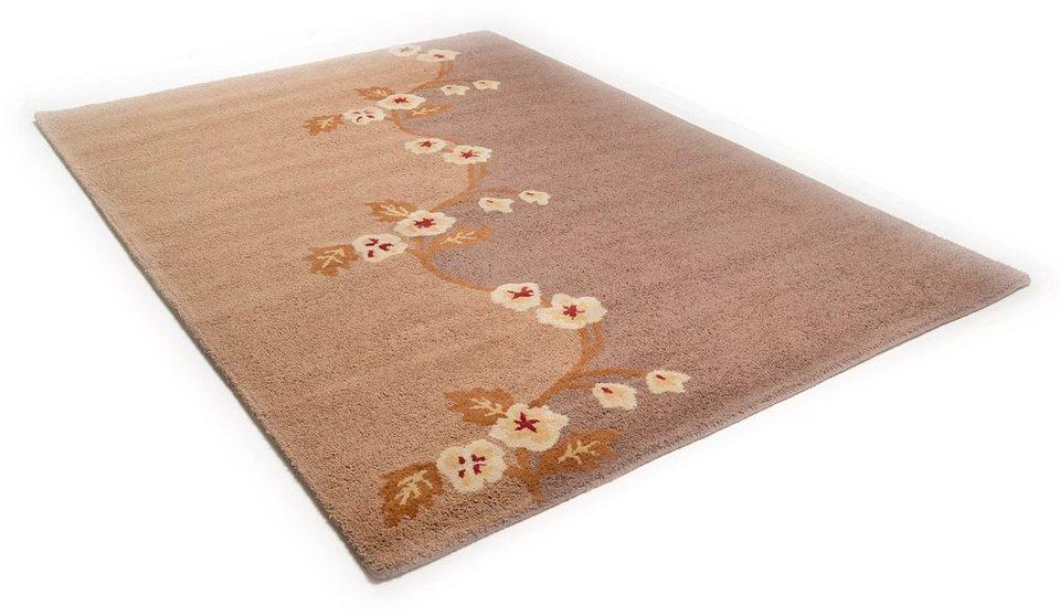 Teppich »Santorini«, Theko, rechteckig, Höhe 16 mm, Hoch-Tief-Effekt, Wollsiegelqualität, Handgearbeiteter Reliefschnitt (Carving) in braun