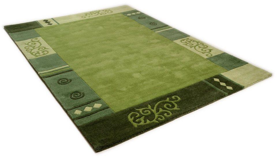 Teppich, Theko, »Ambadi«, handgearbeiteter Konturenschnitt, handgetuftet, reine Schurwolle in grün