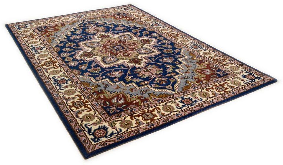 Orient-Teppich, Theko, »Royal Heriz«, 4kg/m², handgetuftet, reine Schurwolle in blau
