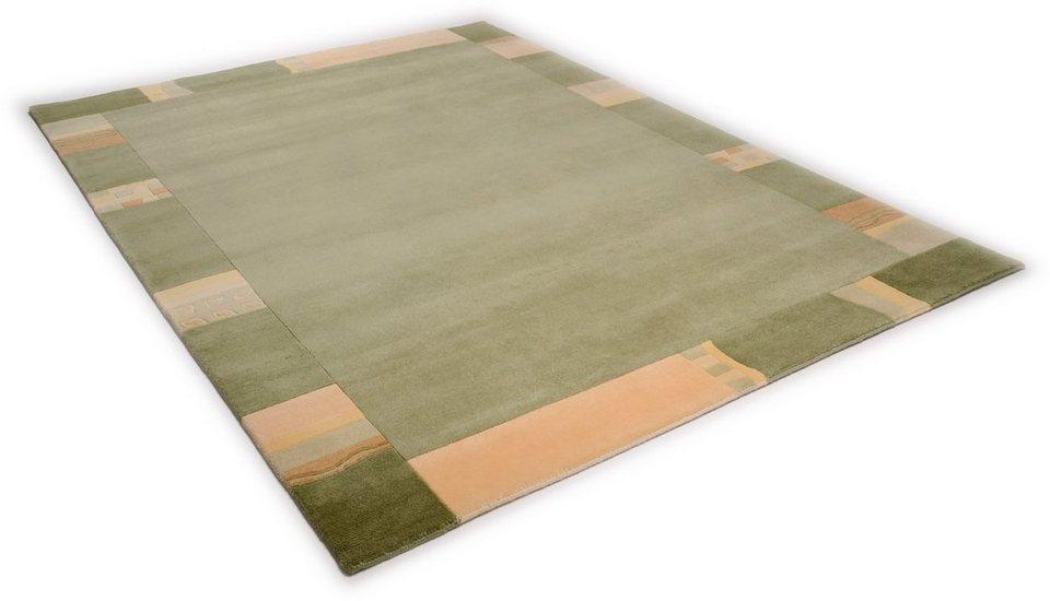 Teppich, Theko, »Avanti«, handgearbeiteter Konturenschnitt, handgeknüpft, reine Schurwolle in grün