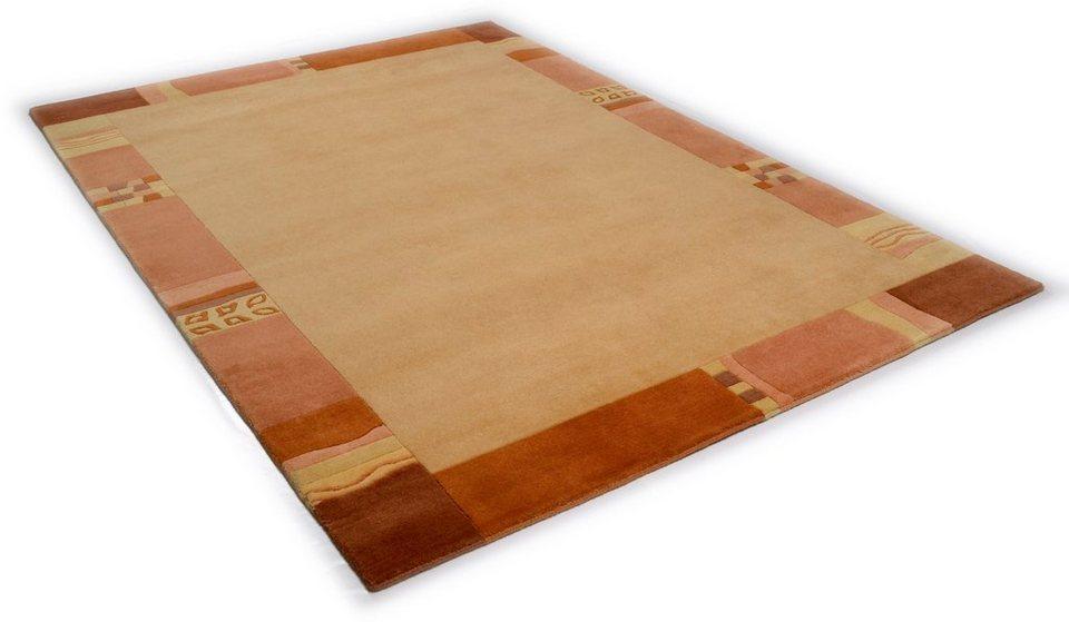 Teppich, Theko, »Avanti«, handgearbeiteter Konturenschnitt, handgeknüpft, reine Schurwolle in beige