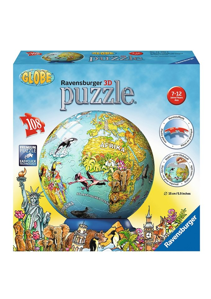 Ravensburger 3D Puzzle-Ball 108 Teile, »Kindererde in deutscher Sprache«