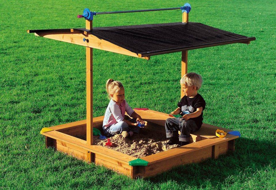 Sandkasten mit Dach, GASPO, mit integrierter Spielzeuglade in natur