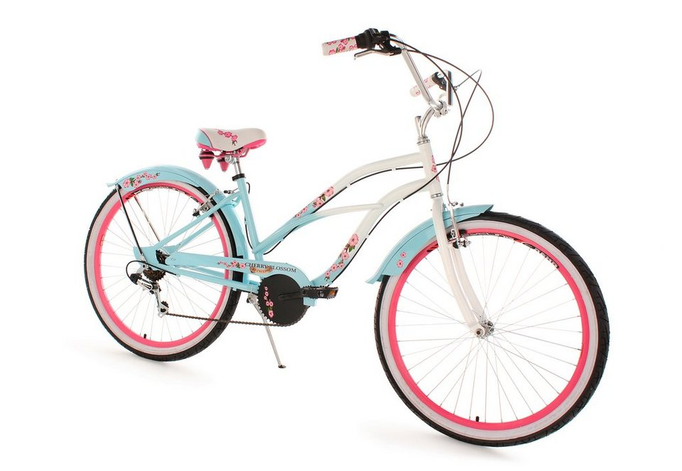 beachcruiser damen 26 zoll 6 gang shimano tourney kettensch blau cherry blossom ks. Black Bedroom Furniture Sets. Home Design Ideas