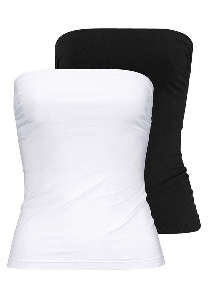 Melrose Bandeautop (Packung, 2 tlg.) in schwarz+weiß
