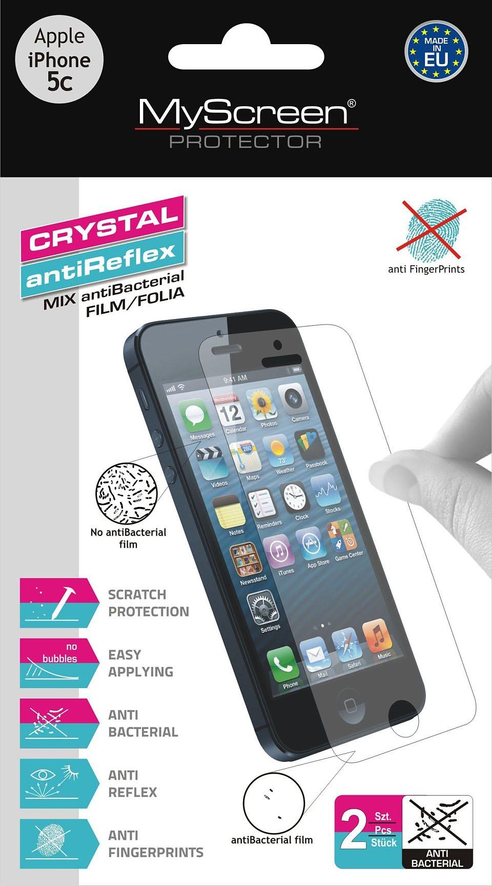 MYSCREEN Schutzfolien Mix »Schutzfolien Mix antiBacterial iPhone 5C«