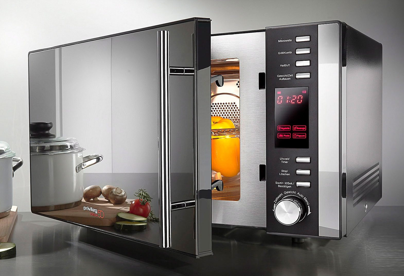Privileg 3-in-1-Mikrowelle AC925EBL Edition 50, Heißluft und Grill, 25 Liter Garraum, 10 Automatikprogramme und 5 Leistungsstufen, 900 Watt