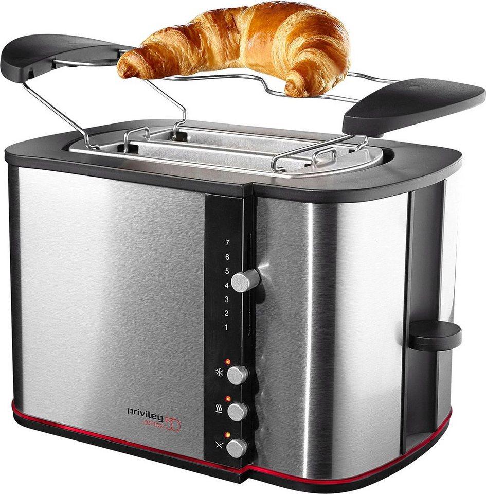 Privileg Toaster »Edition 50«, Auftau- und Aufwärmfunktion, für 2 Scheiben, max. 870 Watt in edelstahl / schwarz