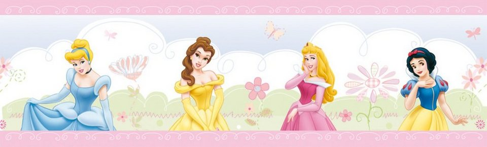 Decofun Bordüre Disney Princess Castle in rosa